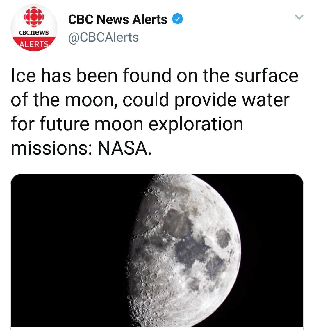 ICE FOUND ON MOON