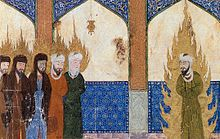 Muhammad, surrounded by fire, is depicted on the right. Jesus and others are on the left